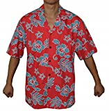 Made in Hawaii! Men's Hibiscus Flower Classic Hawaiian Shirt Collection (2XL, CORAL/BLUE)