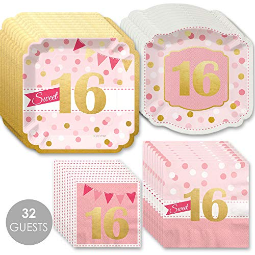 Sweet 16 with Gold Foil - 16th Birthday Party Tableware Plates and Napkins - Bundle for 32 -