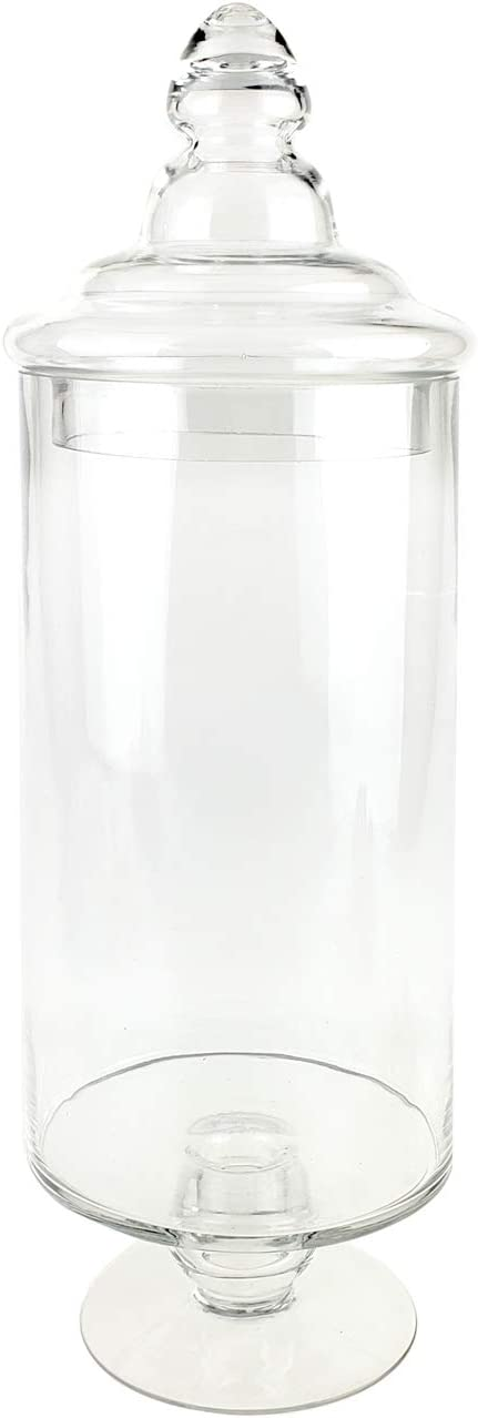 Homeford Clear Glass Pedestal Apothecary Candy Jar, 19-Inch
