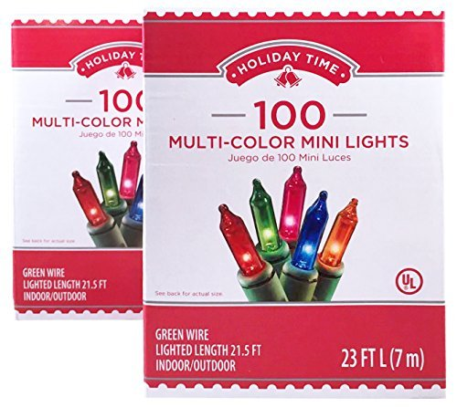 Holiday Time 100 Multi-Color Mini Lights - Green Wire (2 Pack) - Multi String Lights