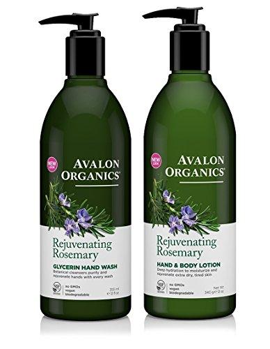 Avalon Organics Rejuvenating Glycerin Rosemary Hand Soap and Hand & Body Lotion Bundle With Aloe, Plant Lipids, Beta-Glucan, Calendula and Vitamin E, 12 fl. oz. each