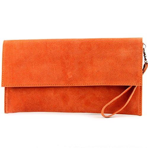 Leather bag bag Clutch bag ital suede Evening City T151 Underarm Orange bag de Modamoda qASTwUqE