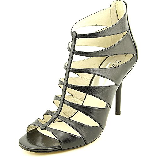Michael Kors Mavis Open Toe Back Zip High Heel Black Leather Cage Style Shoe - size 9.5 by Michael Kors