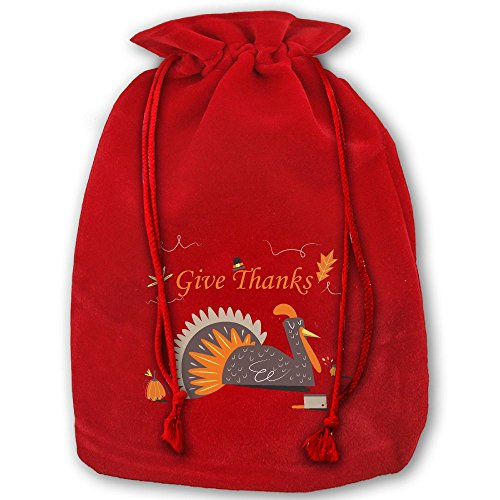 Give Thanks And Turkey Red Christmas Drawstring Bags / Santa's Trouser Bag/ Christmas Gift -