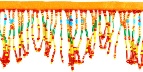 Expo SMT6051RNG Bugle and Seed Bead Fringe Trim, 36-Inch