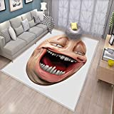 Humor Bath Mats Carpet Poker Face Guy Meme Laughing Mock Person Smug Stupid Odd Post Forum Graphic Door Mats for Inside Non Slip Backing Peach and Pearl