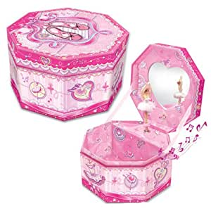 Octagonal musical jewelry box ballerina theme for Amazon ballerina musical jewelry box