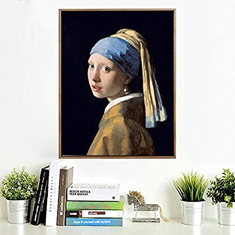 KWzEQ Chica de Pintura al óleo Famosa Holandesa con Pendiente de Perlas Pintura Mural para Sala de Estar decoración del hogar,Pintura sin Marco,60x90cm