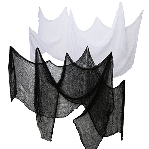 Pangda 4 Pieces Halloween Creepy Cloth Party Decor Drape Doorways Entryways Windows Cover Gauze 2.2 Yards x 30 Inch Include 2 Colors (2 Black and 2 -