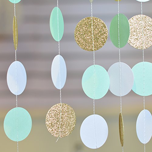 Long 10 Pieces - Mint Green Gold Glitter Circle Dot Paper Garlands Wedding Bridal Baby Shower Party Garland 10ft Long 1 Piece SUNBEAUTY