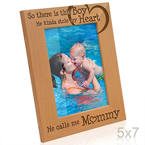 Kate Posh - So there is this Boy he kinda stole my Heart, He Calls me Mommy - Natural Engraved Wood Photo Frame - Mother and Son Picture Frame - Mother's day gifts (5x7-Vertical) (Photo 7 5 X Boy Frame)