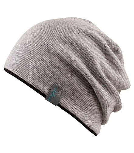 Chillouts BROOKLYN Reversible Soft Stretch Slouchy Cotton Beanie Light Grey / Black