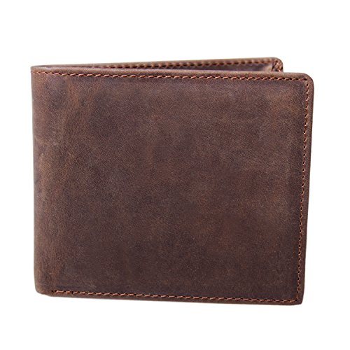 Bi Distressed Leather Fold (GSG Mens Stylish Distressed Texture Crazy Horse Wallets Genuine Leather Bifold Wallets Business Card Holder Dk.Brown)