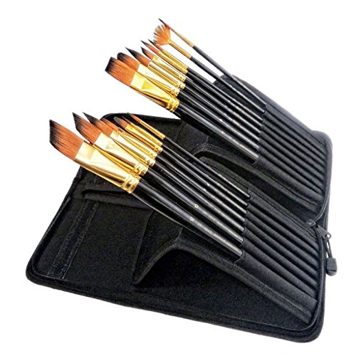 sumnacon-professional-artist-paint-brush-set-with-long-handle-15-pcs-nylon-hair-watercolor-acrylic-o