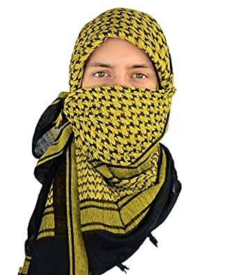 Mato & Hash Military Shemagh Tactical 100% Cotton Scarf Head Wrap - 3PK Black/Gold