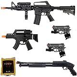 D.O.A. Lot of 5 Airsoft Guns M16 Rifle Shotgun Machine Pistols & 1000 6mm BBs
