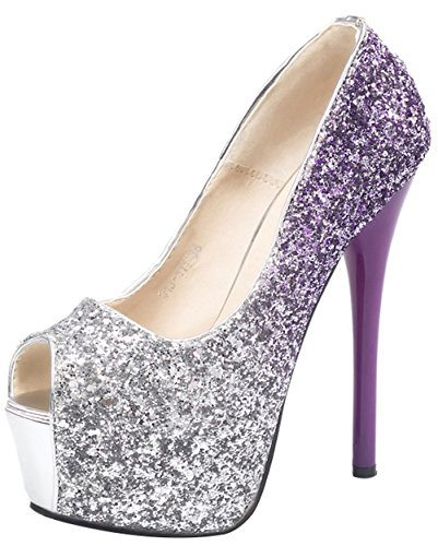 2 Ring Creeper Sneaker (T&Mates Womens Peep Toe Glitter Sparkling Stiletto High Heel Slip On Platform Party Dress Wedding Pumps (7.5 B(M) US,Purple))
