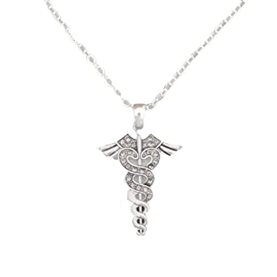 From The Heart Clear Crystal Sparkling Rhinestone Caduceus Pendant