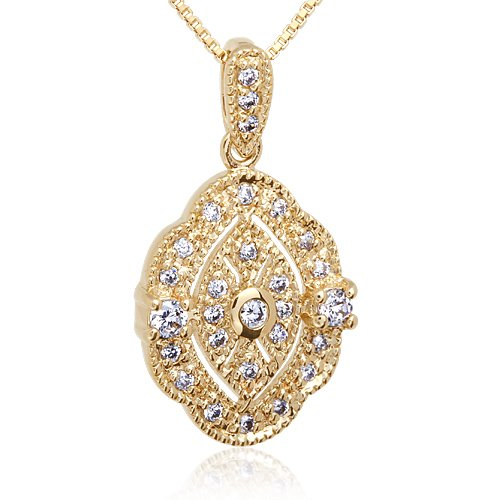 Dazzling in All its Glory: Vermeil Vintage Style Oval Cubic Zirconia (Vermeil Pendant)
