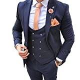 bo ties for men - BOwith Navy Blue 3 Pieces Peaked Lapel Men Suits Wedding Suits For Men Groom Tuxedos S