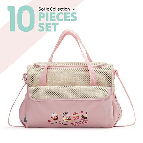 SoHo diaper bag Pink Cup Cake 10 pieces set nappy tote bag l