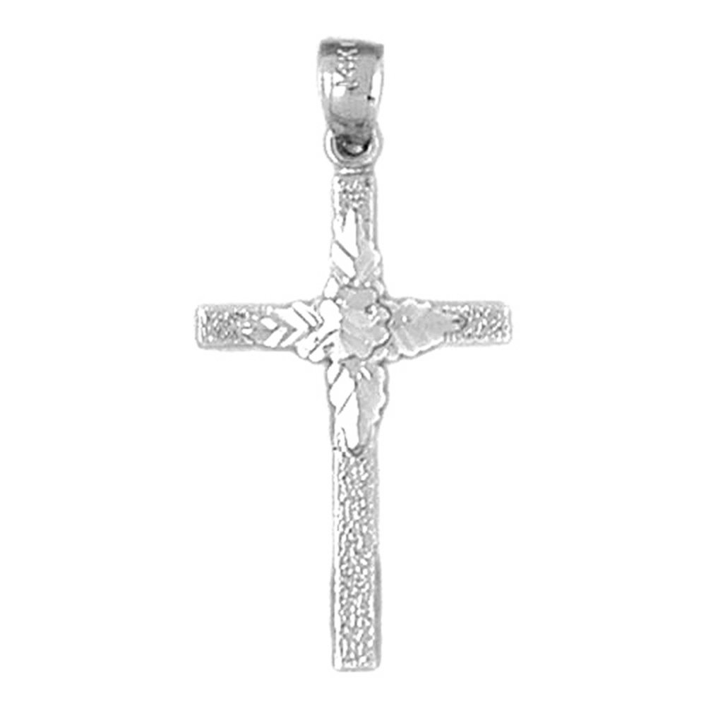 Rhodium-plated 925 Silver Floral Cross Pendant with 30 Necklace Jewels Obsession Cross Necklace