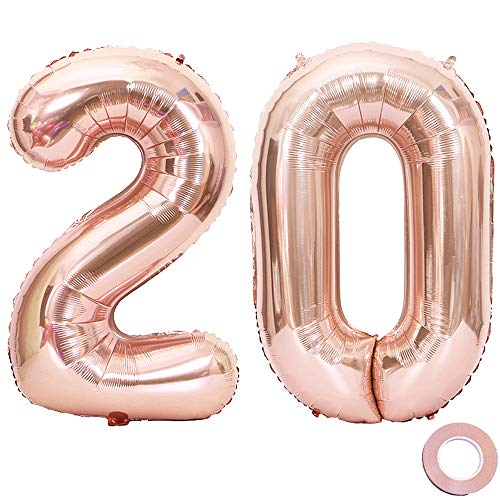 Juland Rose Gold Number 20 Balloons Large Foil Mylar Balloons 40 Inch Giant Jumbo Number Balloons for 20th Birthday Party Decorations