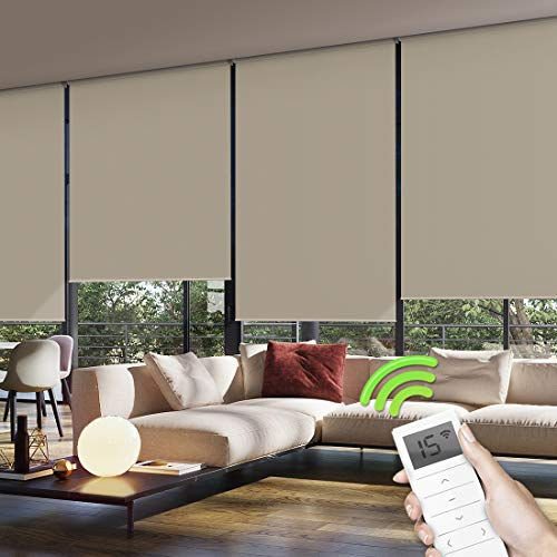 Yoolax Motorized Window Roller Shades Blinds Wireless Remote Control Blackout Fabric Shades for Home and Office Customized (Light Coffee)