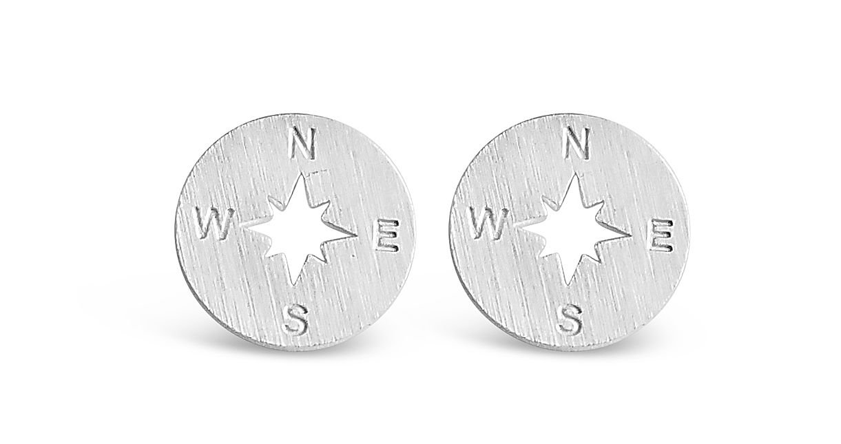 Rosa Vila Compass Earrings - Direction of Life & I'd Be Lost Without You, Earrings for Going Away Gifts, Travel Gifts, College Graduation Gifts for Her (Silver Tone)