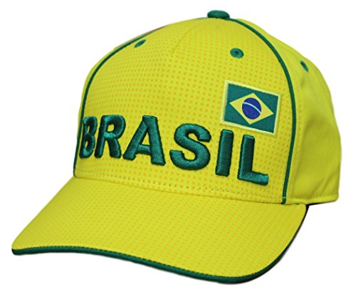World Cup Soccer Brasil Mens -Printed Structured Adjustable Hat, Yellow, One Size