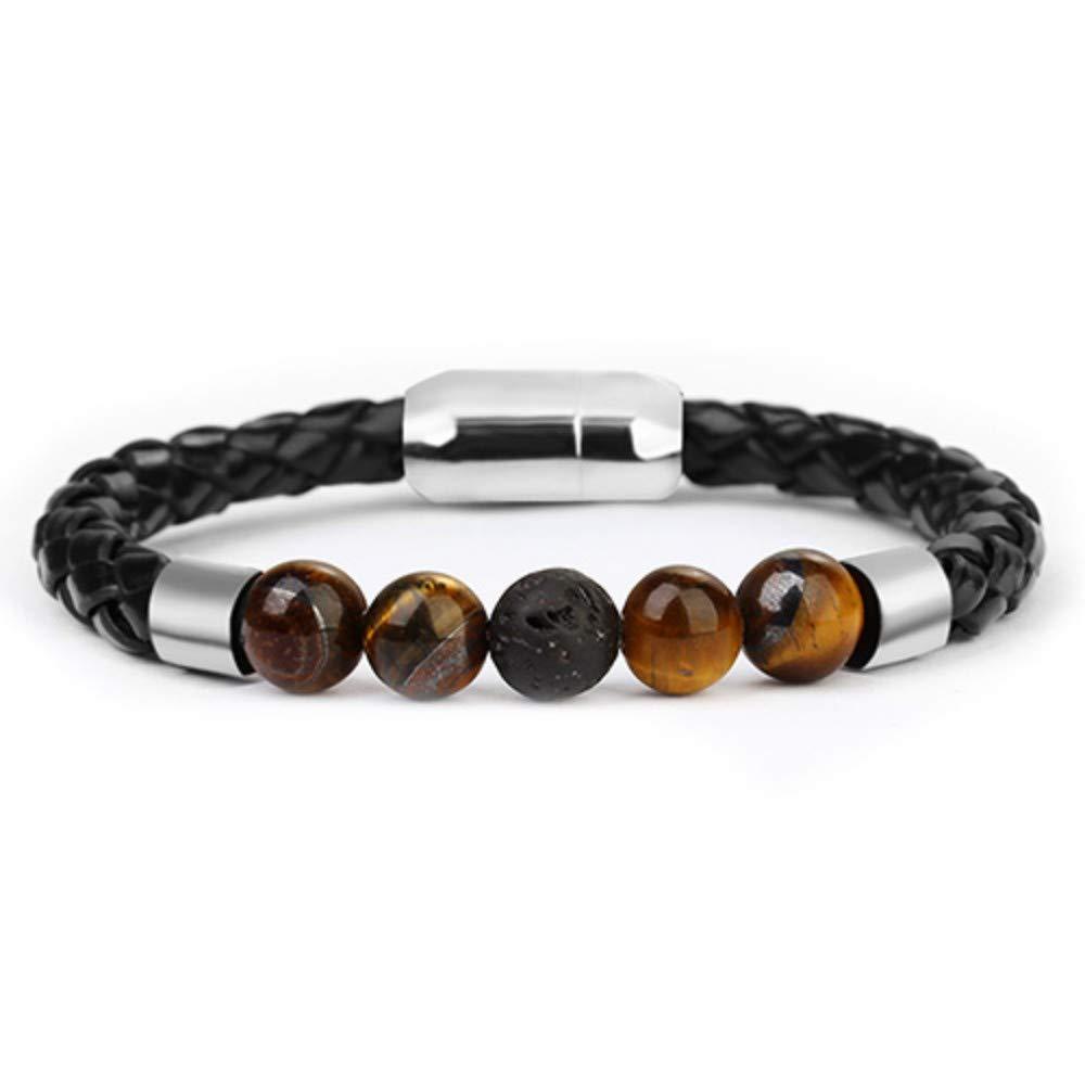 DLIAAN Armbänder Natursteine 8Mm Klassische Schwarze Leder Braune Perlen Männer Armbänder Edelstahl Verschluss Charms Armband Für Frauen Modeschmuck Geschenke 21 5 cm