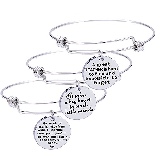 Nzztont Pack of 3 Teacher Bangles Graduation Gifts for Teacher Open School Gifts for Teacher Thankful Charm Bangle Bracelets (Style 01)