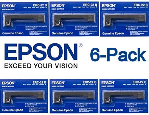 - 6-Pack Genuine Epson (ERC-22B) Black Ribbon Cartridge For: M-180, M-180H, M-181, M-182, M-183, M-183H, M-185, M-190 / 191 / 192 / 195, M-190G / 192G