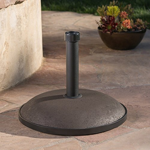 Great Deal Furniture 239331 Benton Round Brown Concrete Umbrella Base