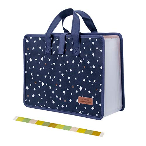 Oak-Pine Portable 13 Pockets File Folder - Cute Star Oxford A4 Letter Size Document Storage Large Legal Self Stand Expanding File Organizer with Color Tags, Handle for Student, Business, Travel