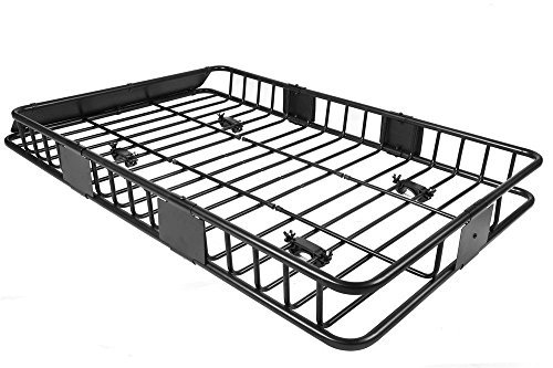 64'' Universal Black Roof Rack Cargo Carrier w/ with Extension Luggage Hold Basket SUV