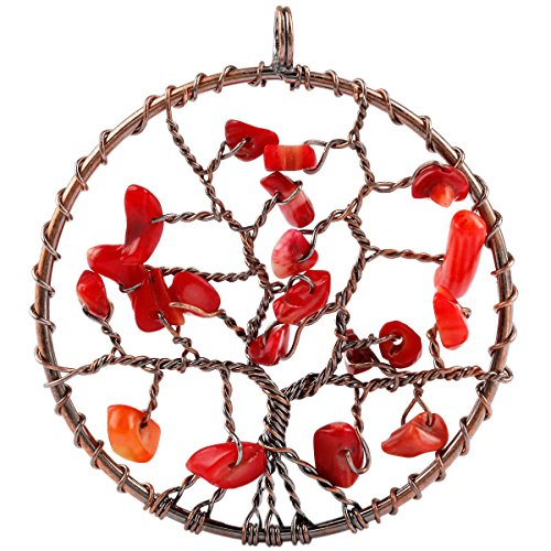 SUNYIK Red Coral Tree of Life Pendant Necklace,Wire Wrapped Healing Jewelry (Tree Pendant Coral)