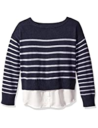 Nautica Girls Sweater with Light Weight Woven Hangdown Pullover Sweater
