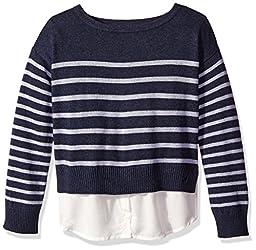 Nautica Little Girls Sweater with Light Weight Woven Hangdown, Dark Blue Heather, 4