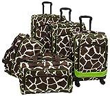 American Flyer Animal Print 5 Piece Spinner Luggage (Giraffe Green)