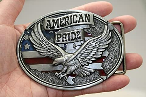 new American pride US flag soaring eagle belt buckle WT093