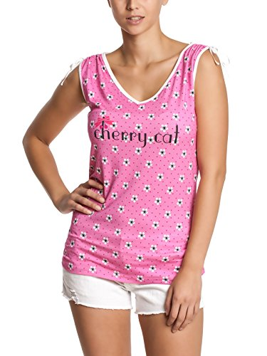 Pussy Deluxe Cherry Cat Blossom Allover Camiseta Rosa