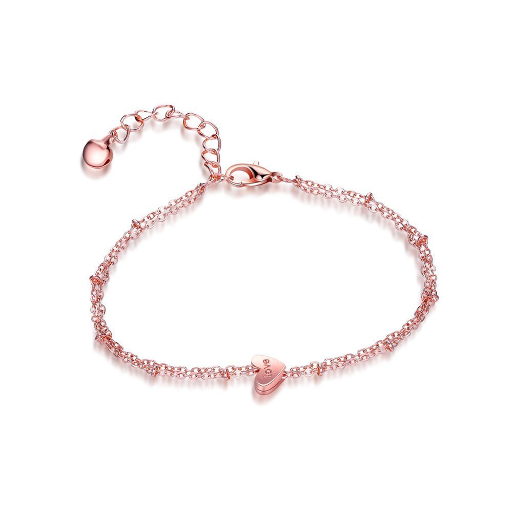 Rose Gold Infgreate Personalized bracelet Love Heart Charm Double Layer Ankle Anklet Chain Sandal Beach Foot Bracelet