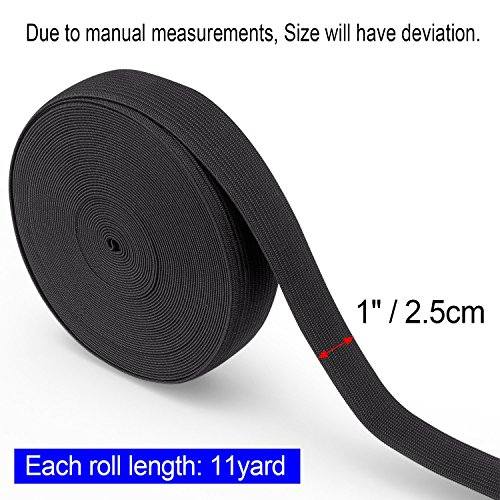 1 Inch Elastic for Sewing 11 Yard X 2 Pack White