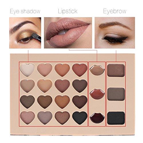 CASA SHOP 3 In 1 Eyeshadow Lipstick Eyebrow Palette Multifunction Makeup - Rich Auburn Finish