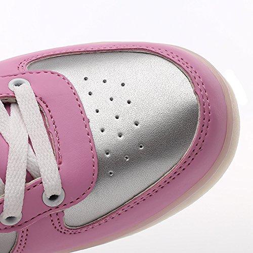 Vilocy 11 Kleuren Led Light Up Lichtgevende Schoenen Hoge Top Knipperende Sneakers Usb Oplaadbare Roze