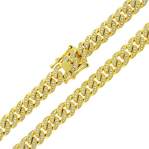 .925 Sterling Silver 8.5mm CZ Iced Out Miami Cuban Curb Link Bling Chain Necklace Yellow Gold Plated (30) by In Style Designz