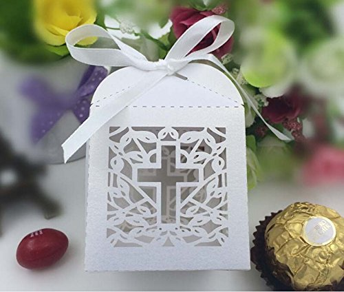 Joinwin®New Design 50 Pack Cross Laser Cut Favor Box Christening Baby Shower Bomboniere with Ribbons Party Favors (White)