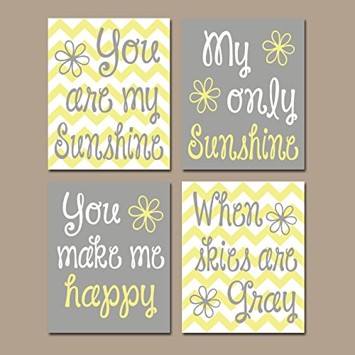 You Are My SUNSHINE Wall Art Sunshine Chevron CANVAS or Prints Nursery Rhyme Girl Quote Art Baby Song Decor Set of 4 Girl Bedroom Decor (Wall Print Chevron Art)
