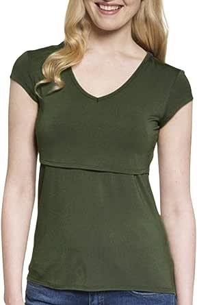 Camiseta de Mujer Maternidad V Cuello Camisa premamá ...